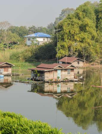thani: Floating house village in Uthai Thani Thailand