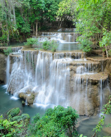 khamin: Huay Mae Khamin Waterfall Paradise waterfall in Tropical rain forest of Thailand Stock Photo