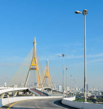 Bangkok transportation with the bridge across the river Thailand photo