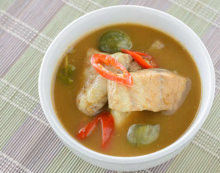 Red fish spicy curry with eggplant Thai cuisine photo