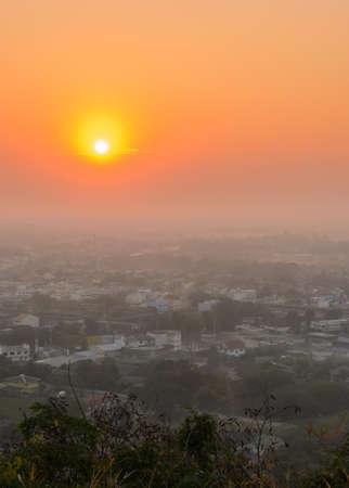 thani: Aerial city view of Uthai Thani province at sunrise, Thailand Stock Photo