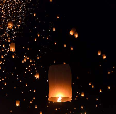 yeepeng: Floating lanterns ceremony or Yeepeng ceremony, traditional Lanna Buddhist ceremony in Chiang Mai, Thailand
