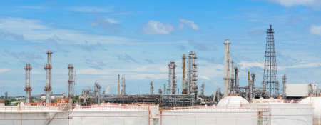 fuel storage: Oil refinery or petrochemical industry plant with large fuel storage tanks