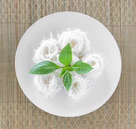 thai basil: Rice noodle with Thai basil Stock Photo