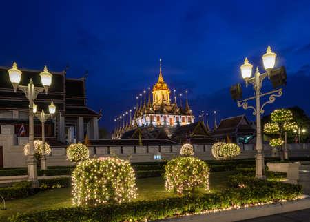 tree marigold: Loha Prasat Metal Castle in Wat Ratchanaddaram, Bangkok, Thailand