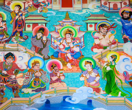 the mural: Traditional Chinese mural on temple wall Editorial