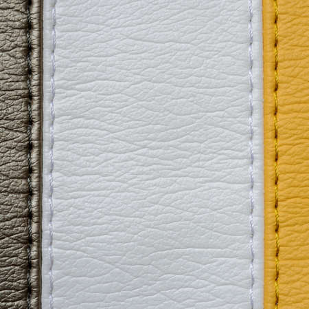 Yellow brown and white leather texture background with stitch Stok Fotoğraf - 44306484