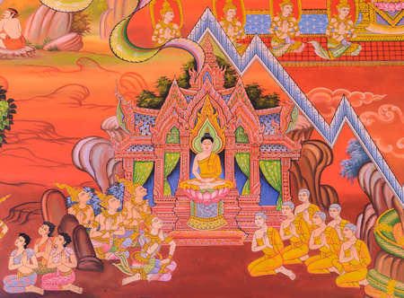 Buddhist temple mural painting The life of Buddha on temple wall at Wat Chetawan in Chiang Mai, Thailand