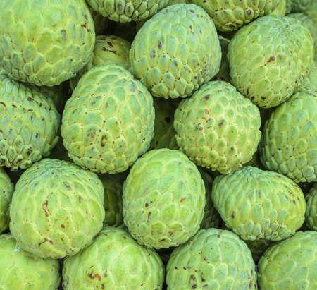 annonaceae: Stacks of ripe Custard apple or Sugar apple fruit in fresh market, Thailand