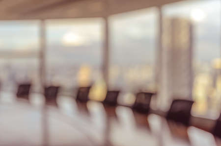 vintage: Blur image of empty boardroom with window cityscape background. Business concept