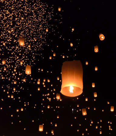 lanna: Floating lanterns ceremony or Yeepeng ceremony, traditional Lanna Buddhist ceremony in Chiang Mai, Thailand
