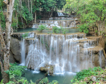 khamin: Huay Mae Khamin Waterfall, Paradise waterfall in Tropical rain forest of Thailand