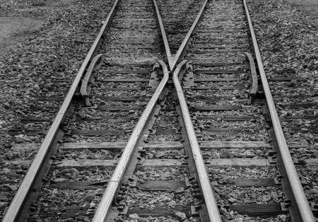 Close up of wooden railway tracks Standard-Bild