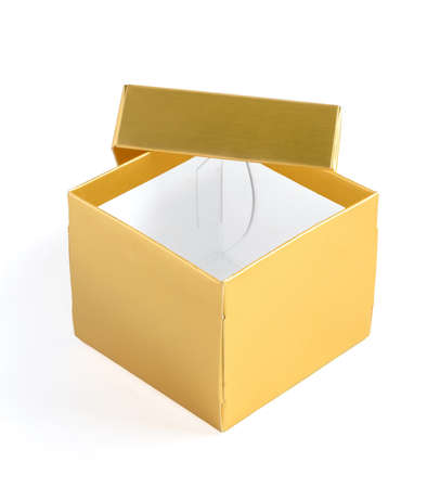 lid: Opened empty golden gift box with lid on white background