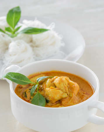 thai: Crab meat coconut milk curry with rice noodle, Thai spicy soup cuisine Stock Photo