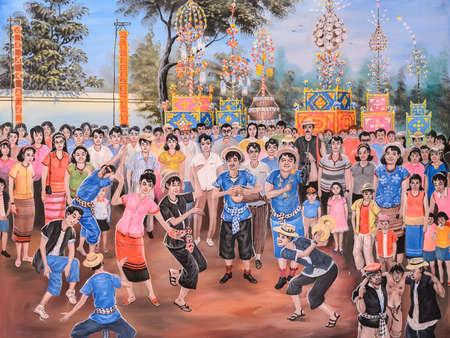 thai musical instrument: Native Thai painting of Loi Buddhist festivall on temple wall at Wat Chetawan in Chiang Mai, Thailand