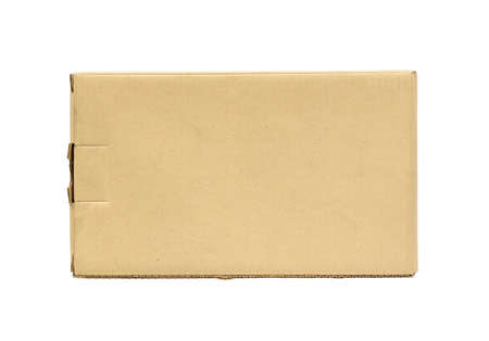 mail: Closed brown corrugated cardboard box on a white background