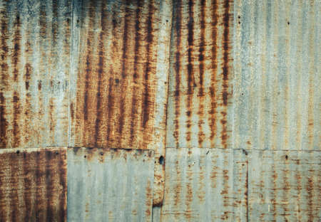 galvanize: Rusty corrugated galvanize steel wall texture background in vintage filter effect