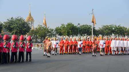 to pass away: BANGKOK, THAILAND - DECEMBER 16, 2015 : The funeral ceremony moved His Holinesss body Supreme Patriarch in a procession from Wat Bowonniwet Vihara to Wat Debsirindrawas in Bangkok, Thailand.