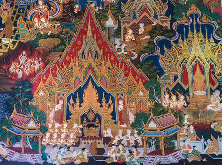 thai buddha: Ancient Buddhist temple mural painting of the life of Buddha in Ayutthaya, Thailand