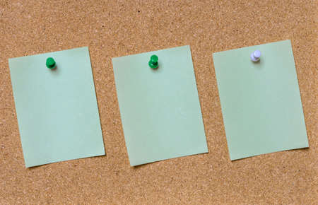 tack board: Blank green paper posted on cork board with tack pin for text and background Stock Photo