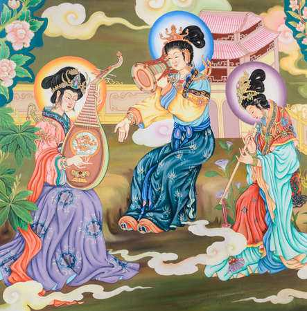 mandolin: Traditional Chinese mural on temple wall Stock Photo