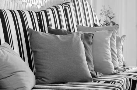 black and white flowers: White and black sofa with pillows. Black and white color image.