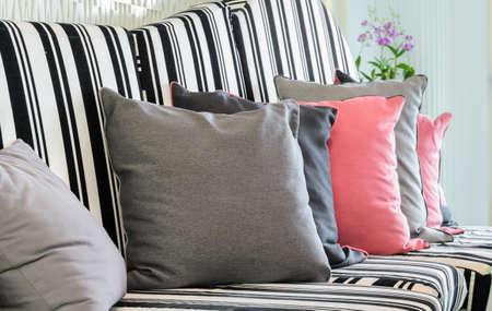 white sofa: White and black sofa with pillows
