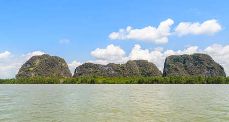 phang nga: Landscapes of limestone island with mangrove forest in Phang Nga Bay National Park, Thailand
