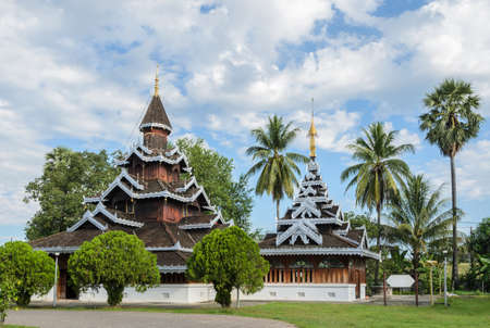 gabled: Wat Hua Wiang,  Burmese Shan style temple with multi-gabled wooden monastery in Mae Hong Son, Thailand