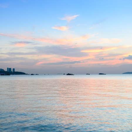 afterglow: Beach sunset skyline afterglow