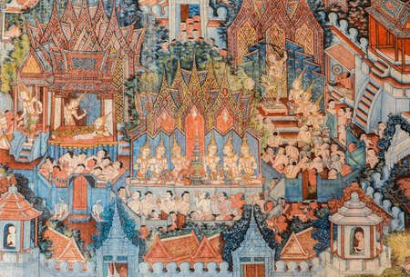 Ancient Buddhist temple mural painting of the life of Buddha in Thailand