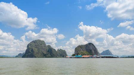 panyi: Landscape of limestone karsts of Phang Nga Bay National Park.  Panyi island or Koh Panyee, floating fishing village in Phang Nga Province, Thailand
