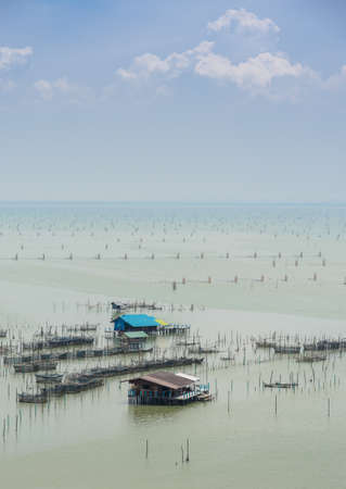 rearing: Fish farming in the sea,  floating house with cages under for rearing fish in Thailand