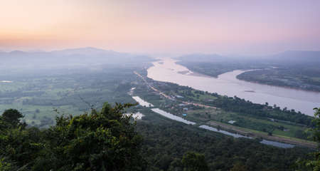 Aerial landscape view of Mekong river with mountain ranges at twilight in Nong Khai Province, Thailand 版權商用圖片