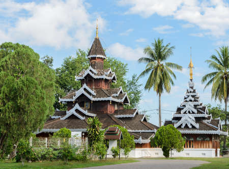 gabled: Wat Hua Wiang,  Burmese temple with multi-gabled wooden monastery in Mae Hong Son, Thailand