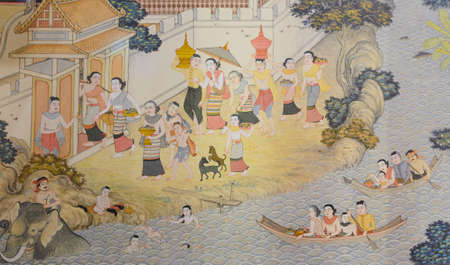 Thai mural painting of Lanna people life in the past in Chiang Rai, Thailand