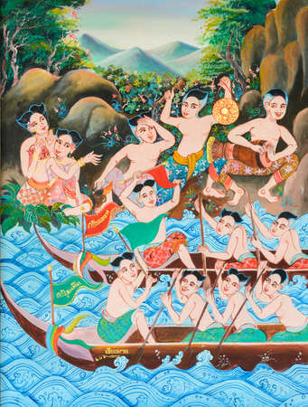 thai musical instrument: Native Thai mural painting of Long boat race festival in Loei, Thailand. Stock Photo