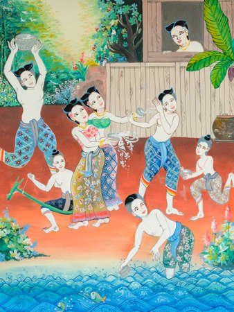 Native Thai mural painting of Songkran festival in the past on temple wall in Loei, Thailand. Stock Photo