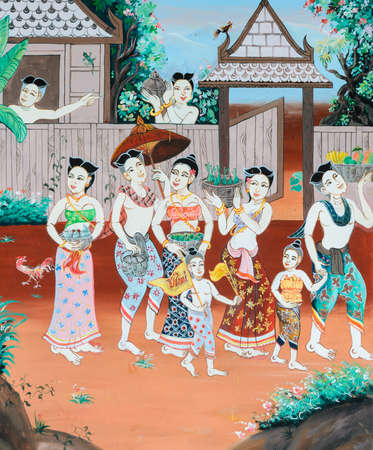 Thai mural painting of Thai Buddhist New Year festival in the past on temple wall in Loei, Thailand. Stok Fotoğraf