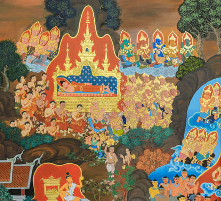 Buddhist temple mural painting in Chiang Rai, Thailand