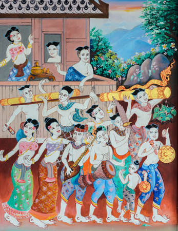 Native Thai mural painting of Rocket festival parade on temple wall in Loei, Thailand.
