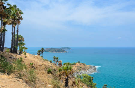 Phromthep cape viewpoint with stunning view of Andaman seascape in Phuket,Thailand Stock Photo