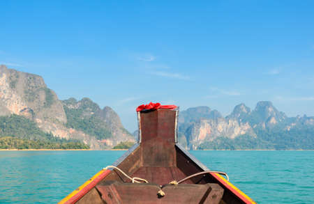 Beautiful limestone mountain cliff and natural attractions with long-tailed boat at Khao Sok National Park in Surat Thani Province, Thailand Stock Photo