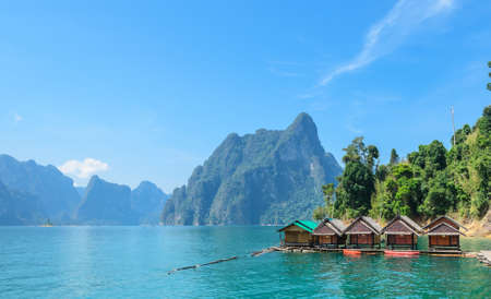 Beautiful limestone mountain ranges and natural attractions at Khao Sok National Park in Surat Thani Province, Thailand