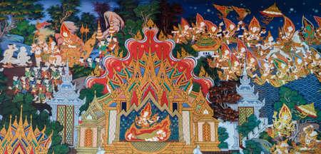 アユタヤ、タイの仏の生命の古代の仏教寺院壁画