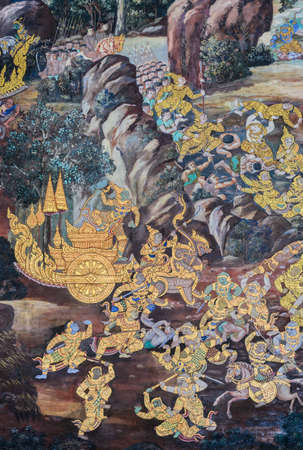 Ancient Thai mural painting of Ramakien epic inside of Wat Phra Kaew in Bangkok, Thailand.Ramakien is national epic of Thailand derived from Hindu Ramayana epic.