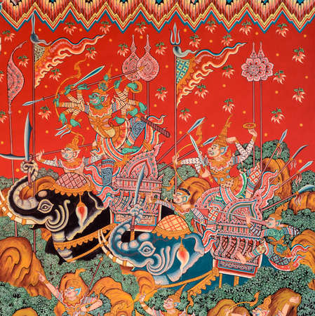 Ancient Buddhist temple mural painting of the life of Buddha in Nonthaburi, Thailand