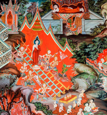 Buddhist temple mural painting (The life of Buddha) in Suphan Buri, Thailand