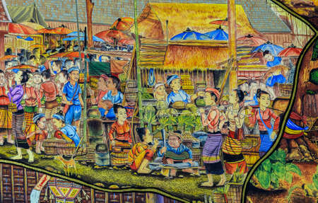 Thai mural painting of Lanna people life in the past on temple wall in Chiang Mai, Thailand.